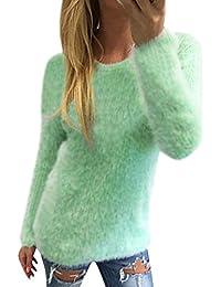3afc71a4094fb8 Kolylong® Tops Damen Pullover Damen Plüsch lose Bluse Pullover mit Langen…