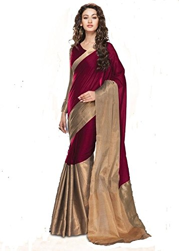 SareeWomens-cotton-silk-saree-with-blouse-piece-majenta-color