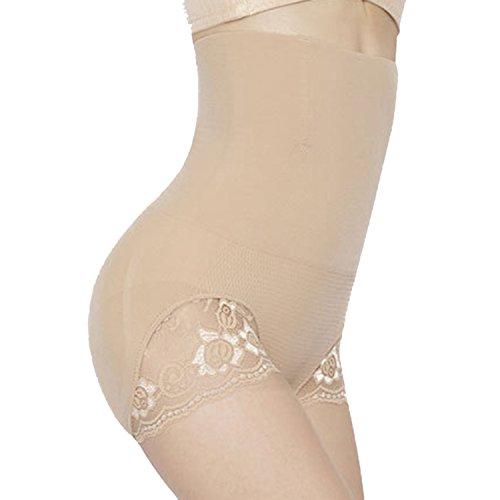 Sasairy Damen High Waist Figurformender Panty Unterwäsche Sculpting Slip mit Spitze Miederslip mit Bauch-weg-Effekt Fleischfarben/Schwarz Fleischfarben
