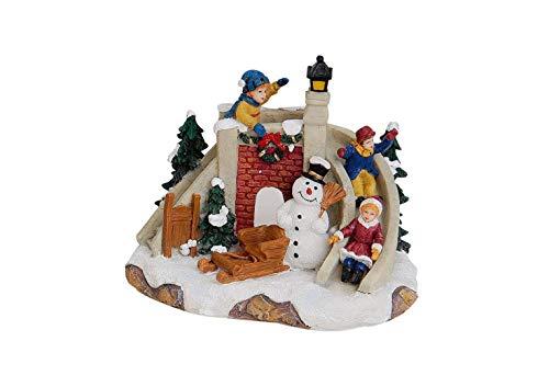 G. Wurm Winterszene aus Poly, B14 x T9 x H14 cm für Ihr Winter- oder Weihnachtsdorf