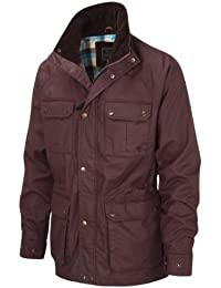 VEDONEIRE Mens Wax Jacket (3050 BURGUNDY) red motorbike style coat