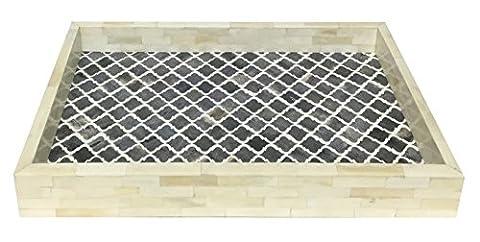 Dekoratives Tablett Platten Frühstück Kaffee Tisch Top maurischen marokkanischen Muster Handgefertigt Naturals Bone Inlay Vierpass-Design alle Zweck Serviertablett aus Kunsthandwerk Home Größe 27,9x 43,2cm, Kunstharz, Grey & White, (Essgeschirr Platter)