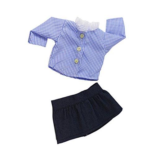 FLAMEER 2-TLG Langärmelige Hemd & Minirock Schuluniform Outfit Set für 18 Zoll Weibliche Puppen (Weibliche Dress Up Kostüm)