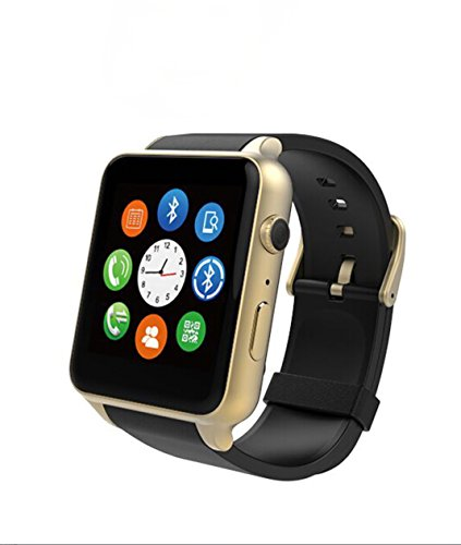Android Bluetooth Waterproof Smartwatch -AWOW GT88 Smart Watch Support Android 5.1 and iphone 7.0 System Above, Whatsapp, Including Heart Rate Monitor(Black and Gold)
