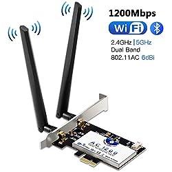 Hommie Carte Réseau Wi-FI avec Bluetooth 4.2 Adaptateur PCI Express Double Bande 5GHz sans Fil Intel 7265 AC 1200Mbps Carte WiFi PCIE Wireless pour PC Supporte Windows7,8,10/Linux4.2+