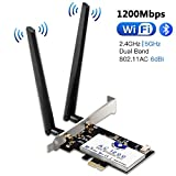 Scheda di Rete Wireless Wi-Fi con Bluetooth 4.2, Hommie 1200M 867mbps Scheda di Rete PCI, Wireless Express Dual Band 802.11ac, Intel 7265AC Scheda Wifi con 2 Antenne 6db, Win7/8/10, Linux4.2+