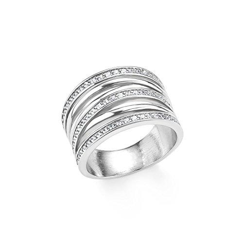 s.Oliver Damen-Ring 15 mm Edelstahl Zirkonia weiß Gr. 58 (18.5) 2015154