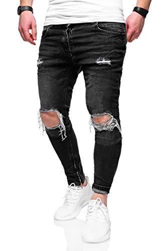 f4354bacab58f2 Herren Destroyed Jeans-Hose Slim-Fit 80-3299 Dunkelgrau W31L32