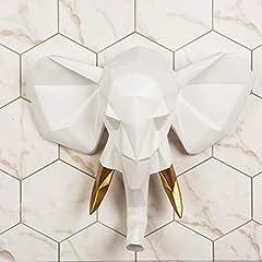 Idea Regalo - WALPLUS Decorazione da Appendere alla Parete Faux Taxidermy Testa per Parete Décor Animal Replica Decorativo Mount Art Scultura Gift Oro Bianco Elefante