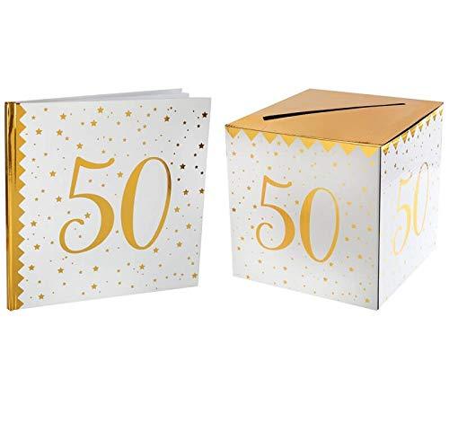 Santex 1 Pack urne et Livre d'or Anniversaire Or et Blanc 50ans
