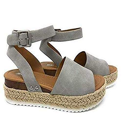 Large Size Leopard Sandals Women Europe and The United States Thick Bottom Hemp Braided Belt Ladies Sandals Gray 36