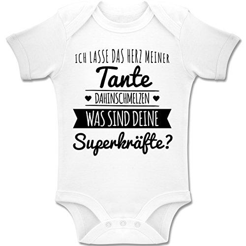 Shirtracer Sprüche Baby - Tante Herz dahinschmelzen - 1-3 Monate - Weiß - BZ10 - Baby Body Kurzarm Jungen Mädchen