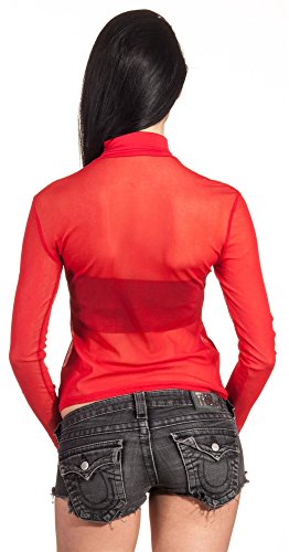 Top Langarm Chiffon Pamela Oberteil Damen Bluse Spitze Sommer Longshirt Rot