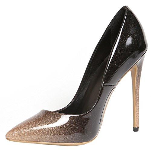 Couleur en Slip sur Pointu verni Femmes Mixte Mature ENMAYER High super Gris cuir Toe Heels Sexy Stiletto Dress Party Escarpins 5OXxpZ