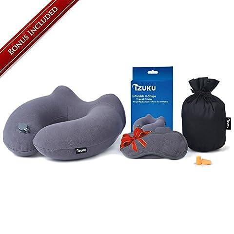 Nackenkissen Aufblasbares [Bonus inklusive] IZUKU® egornormisches nackenhörnchen perfekt für Reisen