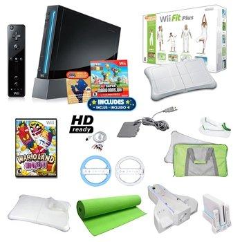 Top Qualität Nintendo WII Schwarz Super Mario Urlaub Paket mit WII Fit Plus, Yogamatte, Spiele von Nintendo, Rollen, und Mehr (Neu) - Mario Bros Galaxy Wii