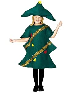 Green Christmas Tree With Tinsel Fancy Dress Costume - Kids Medium Size