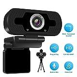 Webcam Full HD 1080P con cover per webcam, fotocamera per laptop per computer per videoconferenze e videochiamate, webcam Pro Stream con videochiamata plug and play, microfono incorporato