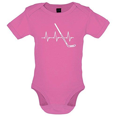 2 Humor Kleinkind T-shirt (Dressdown Heartbeat Eishockey - Lustiger Baby-Body - Bubble-Gum-Pink - 0 bis 3 Monate)