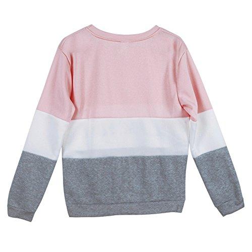 West See Damen Rundhals Hoodie Lässige Druck Mantel Tops Pullover Langarm Sweatshirt (DE 40(Herstellergrößer XXL), Pink) - 3