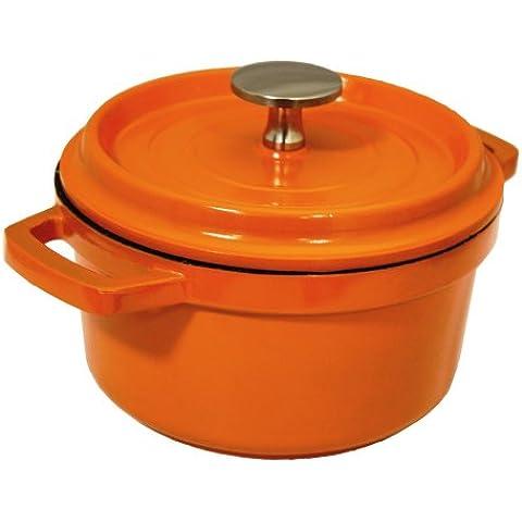Baumalu 386140 - Cacerola redonda con tapa aluminio forjado 24 cm color naranja