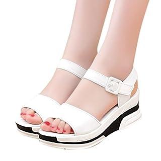 Sannysis Damen Sommer Sandalen Peep-Toe Niedrige Schuhe (Weiß, 35)