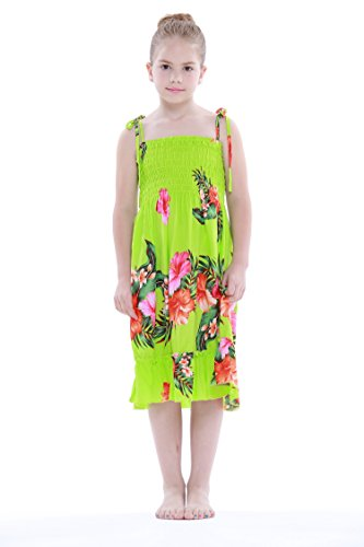 Nia-Elstico-Ruffle-Hawaiian-Luau-vestido-en-Verde-lima-4T