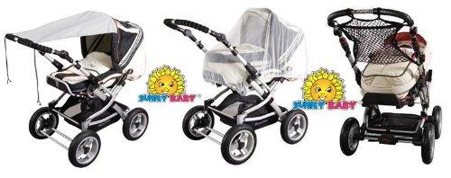 Sunnybaby Set - Sonnensegel UPF 50+ grau, Insektenschutznetz Universal weiß & Universalnetz mit Anker schwarz