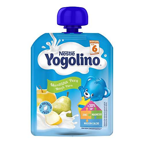 Nestlé Yogolino Postre lácteo Bolsitas con Manzana y Pera - Para bebés a partir de 6 meses - Paquete de 16 unidadesx90g
