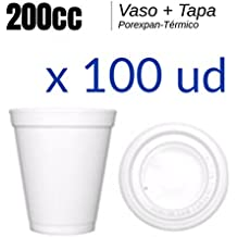 Vaso Porexpan - Vaso Porex 200cc - LOTE 100ud - Vaso termico desechable Tapas - Vaso