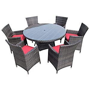 HongTeng Luxury Terrace Outdoor Furniture 6 Round Rattan Cutlery Set Brown Garden Set