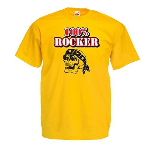 N4687 Männer T-Shirt 100% Biker! Motorradkleidung (X-Large Gelb Mehrfarben)