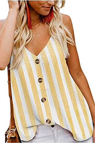 KOKOUK Womens Summer Sleeveless V-Neck Blouse Casual Adjustable Spaghetti Straps Vest Tank Tops S-XXL -