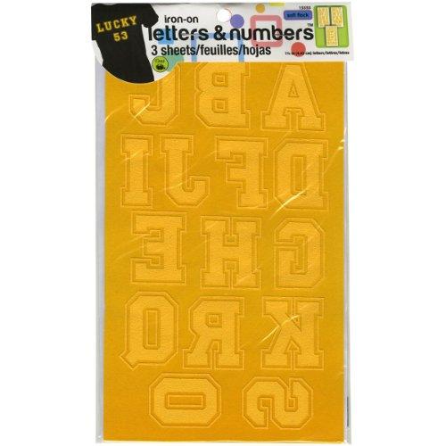 Dritz CL175LNBK Bügelbuchstaben & Zahlen, Soft Flock, Collegiate Gold -
