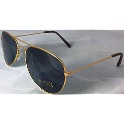 Gold Metall Rahmen Retro Aviator Sonnenbrille Tasche mit Kordelzug, Herren, Damen, Unisex Full UV 400