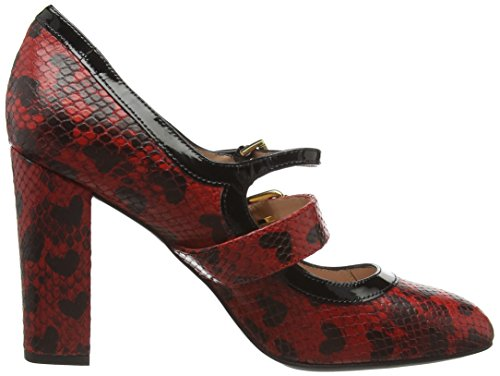 MOSCHINO Scarpad Lina100 St Pit+cuori Rosso, Mary Jane femme Rouge - Red (Red 500)