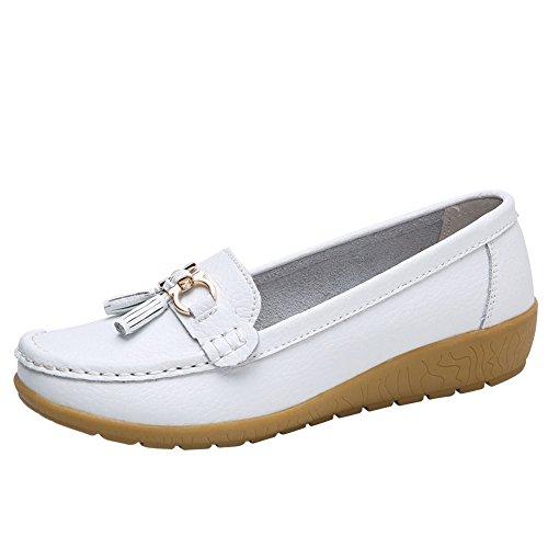 BaZhaHei Zapatos de Mujer Calzado Casual de Mujer con cuña de Fondo Blando Guisantes Zapatos Blancos...