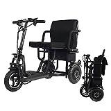 Cacoffay - Triciclo Elettrico Pieghevole, per Persone anziane, per Viaggi, Sedia a rotelle, Scooter da Esterno, Monopattino Elettrico, Mobile Leggero, 280 lbs