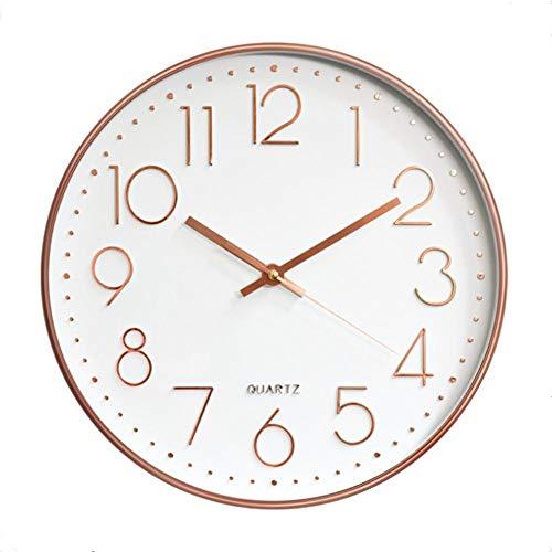 r 12-Zoll-Runde Nicht-Ticking Hängende Uhr Große Anzahl Batteriebetriebene Wanduhr Dekorativ für Home Office Wohnzimmer Schlafzimmer Rose Gold Leise ()