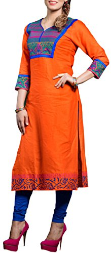 Store9 Womens Cotton With Embroidery 3/4 Sleeves Dress (Heavenly_2_Orange_X-Large)