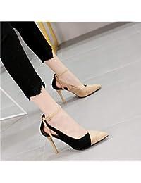 00bc6ceb9 HRCxue Zapatos de la Corte Color a la Moda de la Palabra Puntiaguda Hebilla  Solos Zapatos Temperamento Tacones de Aguja Huecos…