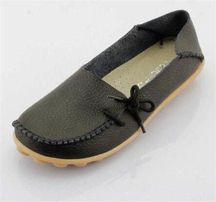 LEIT YFF Femme Chaussures Plates Occasionnels Lace-Up Chaussures en Cuir Véritable Black