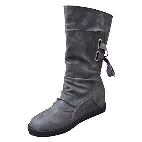 TPulling Mode Stylische Damen Gürtelschnalle Quaste Mid-Neck Stiefel Nach Der Krawatte Flach Mit Martin Stiefel (38, Grau) (Satin Flache Schuhe)