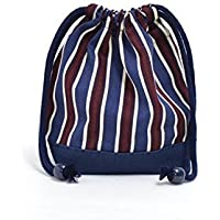 Preisvergleich für Drawstring Gokigen lunch (small size) cup gusset bag British stripe Bordeaux x canvas, dark blue made in Japan N3546300 (japan import)
