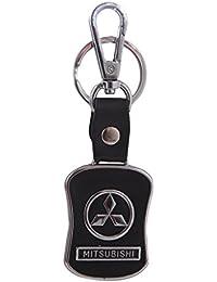 Iktu Key Chain For Mitsubishi Car Bike Black Leather Keychain Key Ring With Hook (Mitsubishi)