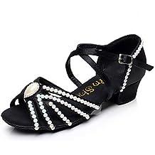 Zapatos de baile ( Negro ) - Latino / Zapatillas de Baile / Moderno / Salsa / Flamenco / Samba - Personalizables - Tacón Bajo , black , us4.5 / eu36 / uk3.5 big kids