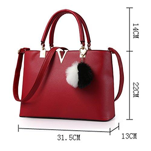 BYD - PU in pelle Donna Borsa Handbag borsa a Spalla Borse a mano Tote Bag Shoulder Bag con Mutil tasche Rosso