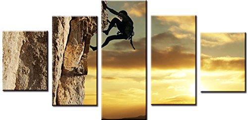Wowdecor Wandbild, 5-teilig, Bilder -, Klettern bei Sonnenuntergang, Giclée, Leinwand Malerei Prints, mehrere Bilder Bild auf Leinwand, Poster, Wall Decor Geschenk, ungerahmt, S