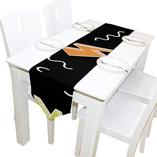 Yushg Blitz Begeisterung Aktive Kommode Schal Tuch Abdeckung Tischläufer Tischdecke Tischset Küche Esszimmer Wohnzimmer Home Hochzeitsbankett Decor Indoor 13x90 Zoll (Halloween-donner Und Blitz)
