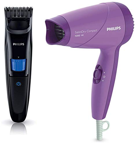 Philips Trimmer (QT4001/15) & Hair Dryer (HP8100/46) Combo